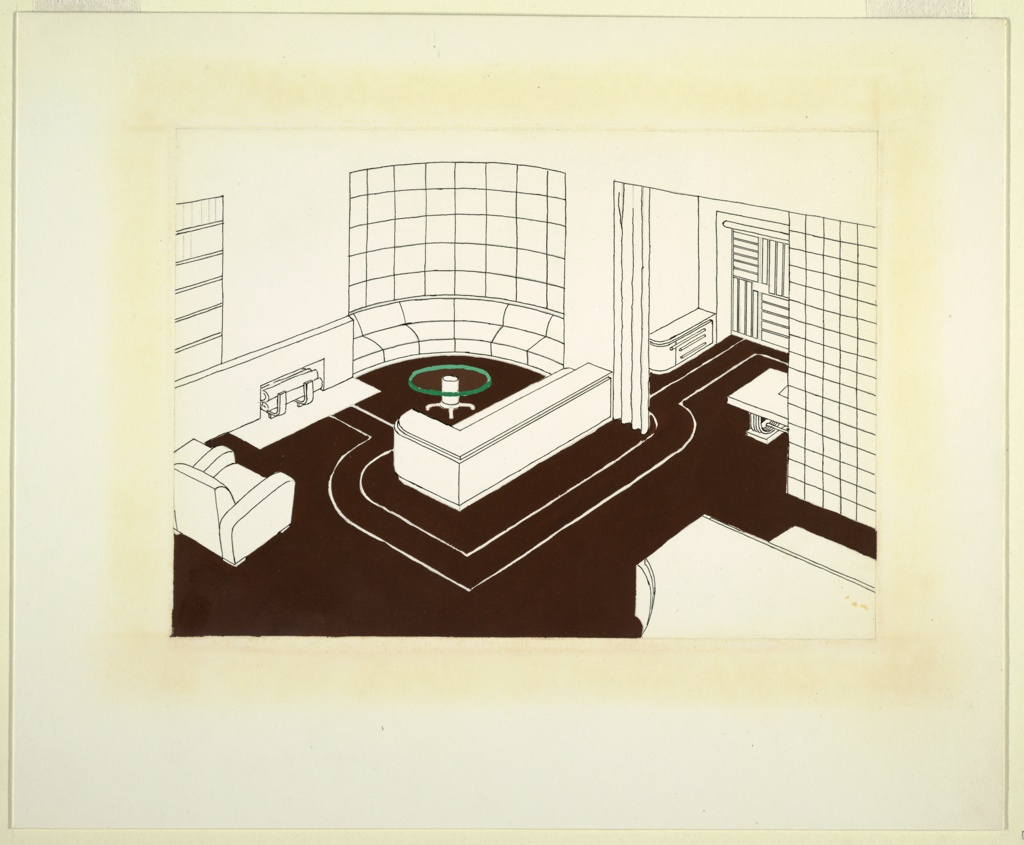 Design for a streamlined interior showing living room and partial view of dining room.  A curving glass block wall with built-in banquette and L-shaped built-in sofa, with round, glass-topped table in front, delimit living room corner. A fireplace set in low dado and upholstered arm chair comprise remainder of living room interior.  At lower right is partial view of Deskey-designed grand piano.  At upper right, marked off by curtain at left and glass block wall at right, view into dining room with Deskey sideboard and dining table.  Linoleum floor with graphic double line in white running from fireplace around sofa into and around dining room.