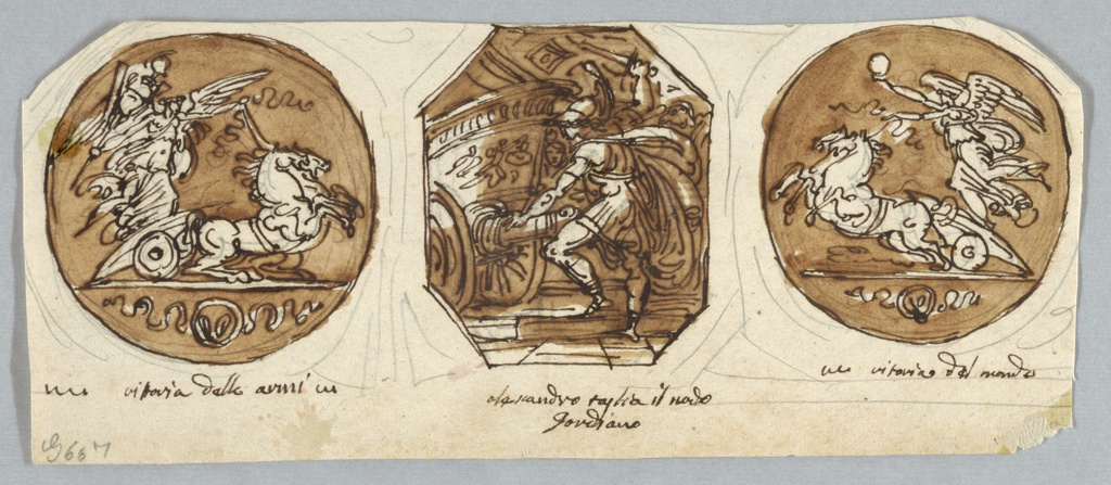 Alexander swings his sword to cut Gordian knot, wound around shaft of chariot. Flanking with two Victories facing each other, left one carries panoply, right one globe.