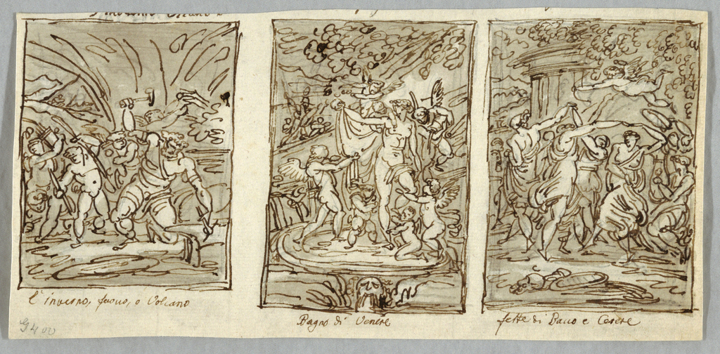 Vulcan forging arrows which are collected by putti.  Venus standing in circular basin served by putti. One of putti points backward where warrior appears. Landscape with part of circular temple.