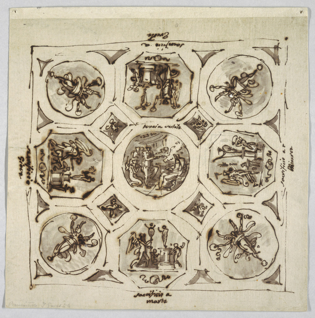 Central tondo with vestal Tuccia; four small octagons with scene of sacrifice. Four tondi in corners showing Victory.