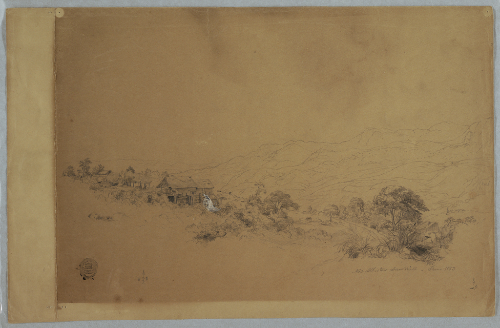 Recto: Horizontal oblique view of the watermill, shed, huts and grazing animals on a hillside in the foreground of a mountainous landscpe Verso: At extreme right a horizontal view of a mountain range bordering a valley