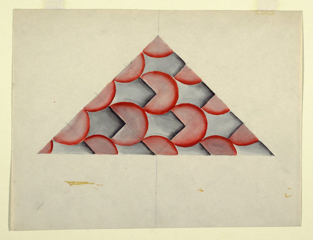 Geometric study with partial red circles and blue squares.