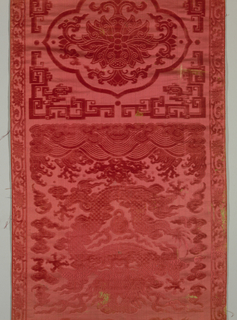 Four vertical panels of red voided velvet in a design of dragon, clouds, bats, waves, spray flaming jewels, etc. Ground of satin and lined with blue figured silk.