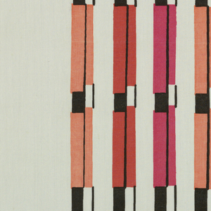 """Columns of irregularly spaced stripes, each stripe alternating rectangles of black and white with rectangles of bright color, in """"Black, Red, Pink, Persimmon on White"""" colorway."""