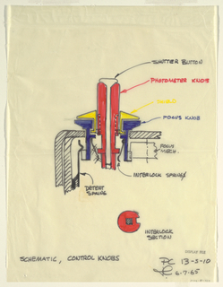 Drawing, Schematic, control knobs, for Polaroid