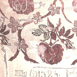 Roses within a grid of vine leaves in red and black on a black patterned picotage background. Factory mark along bottom edge.