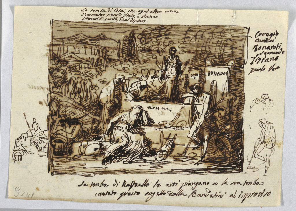 Depiction of allegory: women mourn round sarcophagus in central foreground. Genius with lowered torch leans upon right corner. Palette and lyre lie against base. Stream god shown at extreme left, another bearded god at right. Procession of women comes from left rear. Some tombstones shown in middle distance.