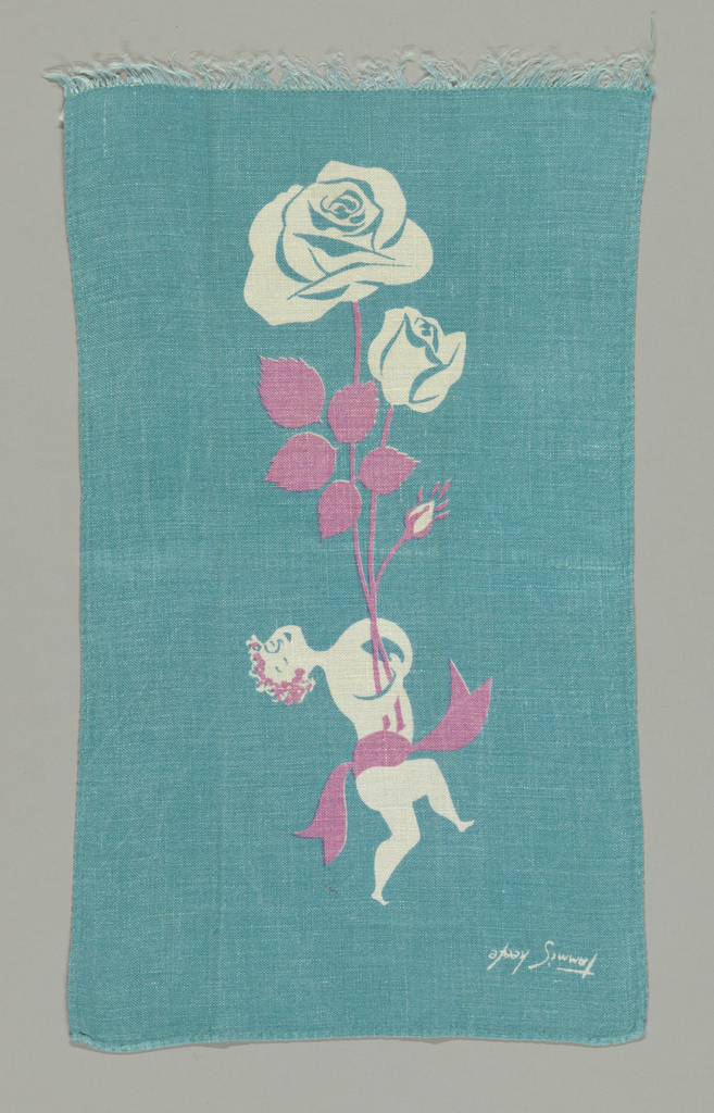 Cupid holding two roses, printed in turquoise and pink.
