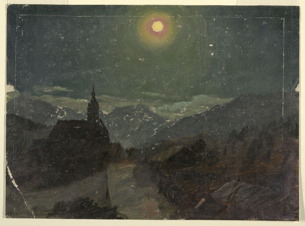 Horizontal drawing of a village church and houses seen by the light of the full moon.  Clouds hang low over mountain peaks in the distance.