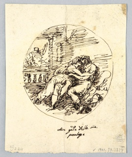 Ulysses and Penelope shown seated upon thrown. Cupid flying away. On Verso: framed lozenge gem at center. Shown laterally, scroll palmettes and above and below blossoms.
