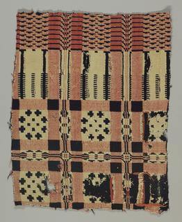 Fragment of a traditional geometric coverlet showing part of the field with repeat of squares and geometrical rosettes. Deep border shows the pine-tree motif. In bright rust red and dark blue wool and bleached white cotton. In border area, rust red and white are woven together, forming a tannish color.