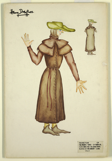 Drawing, Costume Design: Sir John Evans, for The Merry Wives of Windsor