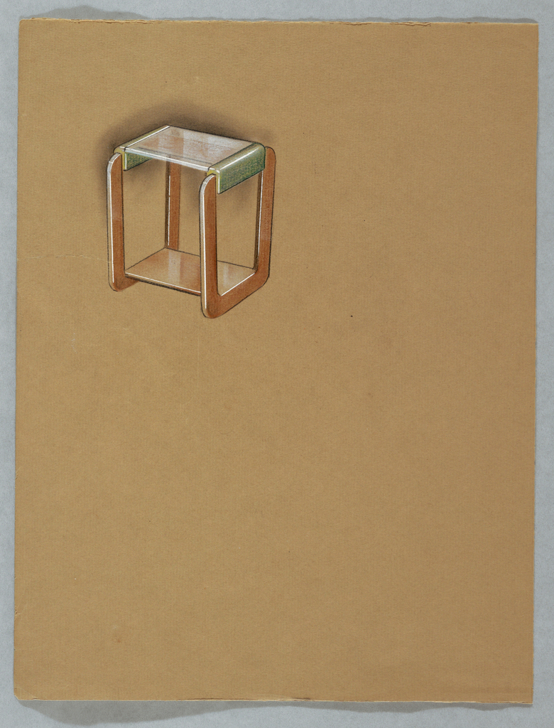 """In upper left corner of sheet folded in half, a design for a medium brown wood and glass end table in the modern style.   Table is supported by continuous """"O-shape"""" wooden legs with a glass top attached to the legs by green leather/glass (?) supports."""