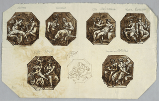 Designed for octagonal painting showing Autumn and Winter. From left to right, top to bottom: Autumn. Two women shown sitting, one raises drinking vessel. Winter: two women sit in room, one reads book while other holds torch. Melpomane with trumpet sits in front of Clio who holds mask. Talia and Euterpe sit beside each other. At left Talia holds mask while Euterpe holds flute. At bottom Erato and Calliope. At left Erato sits with lyre listening to Cupid who flies behind her. At right, sits Calliope with book. Pen sketch of octagon with two sitting women, one of whom holds open book. Urania and Polyhymnia. Two women sit beside each other, left one with sphere and compass.