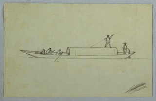 Horizontal sheet containing a covered canoe with a seated woman cooking in the bow as two men row beside her, a third man standing on the hip-roof and poling the water, and a fourth man, wearing a hat and poncho, standing in the helm.  Scratchings at lower right.