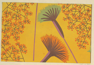 Stylized fan-shaped flowers in orange and teal with sprays of orange buds on a gold ground.