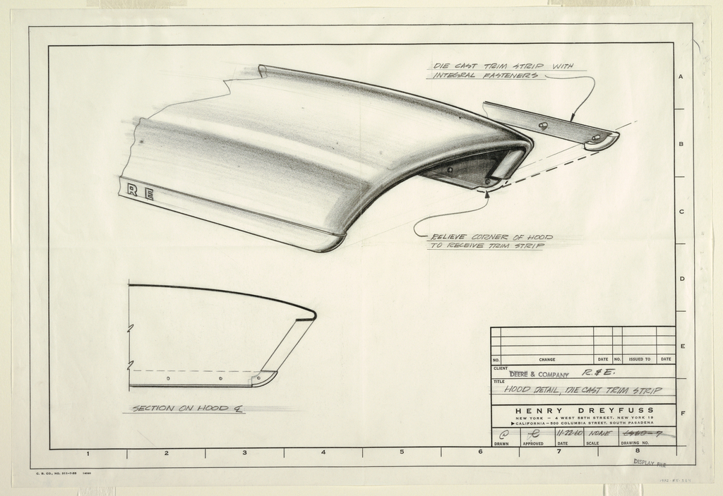 Drawing of hood front for John Deere tractor.