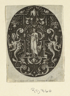 Vertical oval in rectangle showing a grotesque designs on a black ground. At center, under a baldacchino, Juno stands surrounded by scrolls, fantastic creatures, vases, and fruits.
