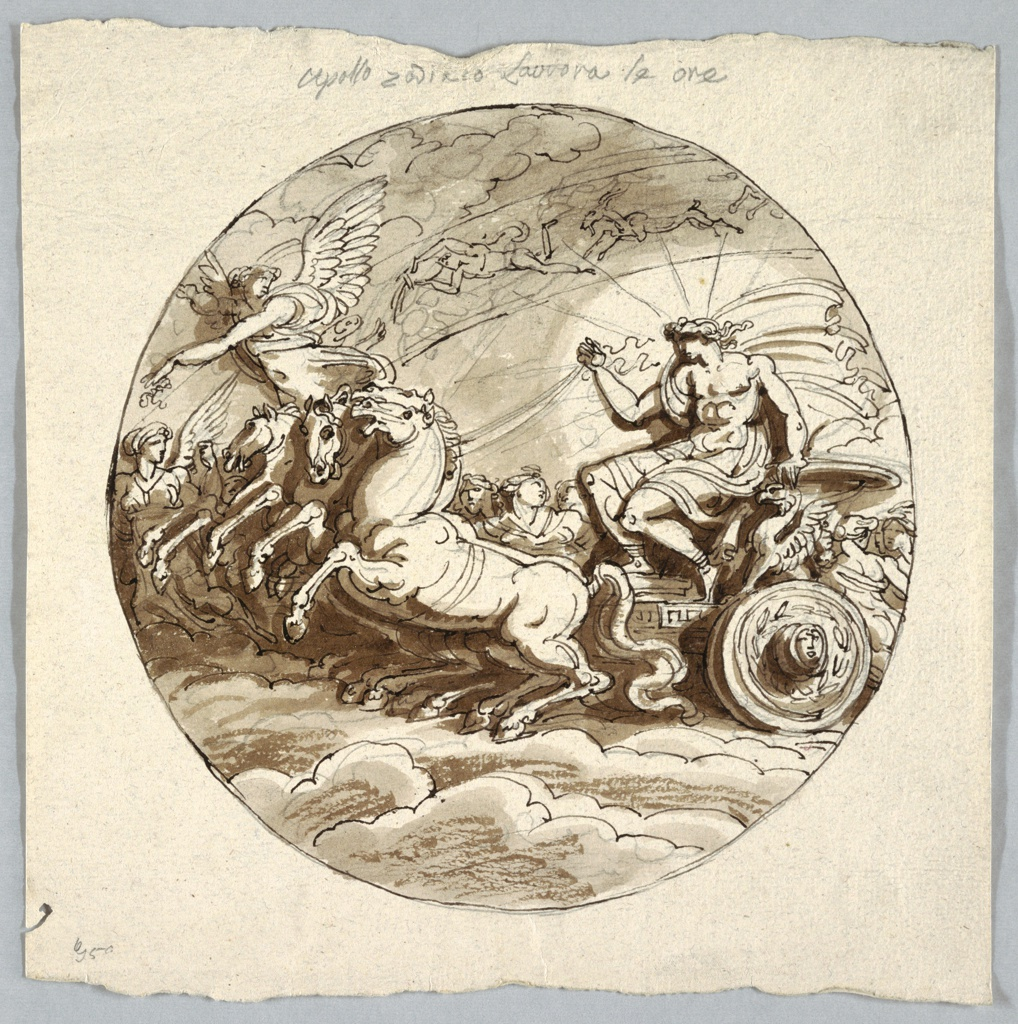 Apollo shown riding in chariot drawn by three horses. Aurora and the Hours accompany him. Part of Zodiac shown.