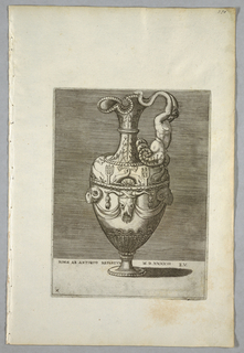 "Vertical rectangle. An ewer with the handle composed of a half-figure with arms ending in snakes. The bowl is decorated with dolphins, tridents and an ox's skull with festoons. Inscribed below: ""ROMAE AB ANTIQVO REPERTVM MD XXXXIII"" and ""A.E.V."" on a tablet."