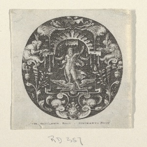 Oval print with grotesque design of scrolls, fantastic creatures, vases, fruits shown against a black ground. In the center, under a baldachino, a divinity stands. Attributes signify Jupiter.