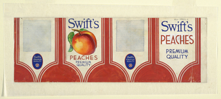 Product label for peaches with red abstact shapes and white, peach.