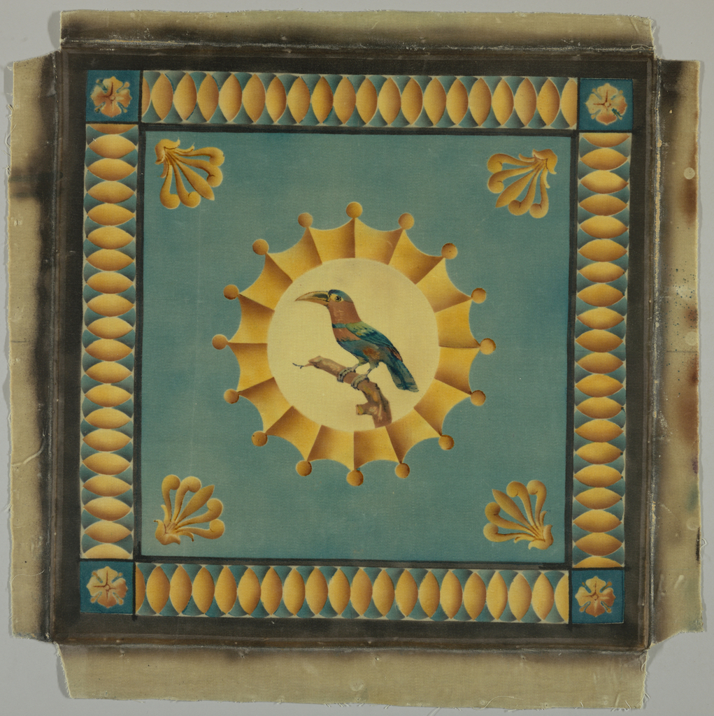 Square sky-blue panel with circular central medallion framing a bird on a branch in blues, greens, browns, and black on a cream-colored ground. Elaborate medallion border, stylized anthemions in four corners, stylized egg-and-dart guard border – all in bright golden yellow shaded to cinnamon to give a three-dimensional effect.
