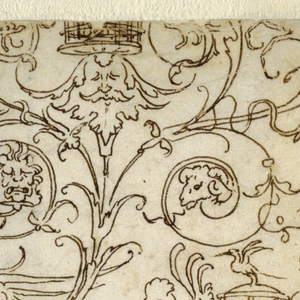 Drawing, Design for Candelabrum and Panel of Grotesques