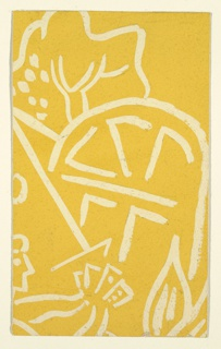 Abstract forms, possibly based on garden flora and implements, in cream on yellow background.