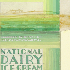 Product Label for National Dairy Ice Cream, decorated with green and yellow.