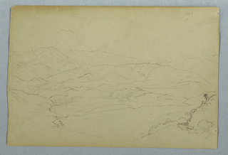 Recto:  Vertical sketches of two groups of plants, a few at left more at right are shown at top, while a part of a balustrade bordering a terrace up to which two steps lead, as well as vases and flower tops are visible at the bottom.  Verso:  Horizontal distant view of a mountainous landscape with Mount Chimborazo towering in the left background.