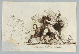 Bull shown running toward right. At left, pen sketch of similar representation with Hercules shown in profile instead of from front.