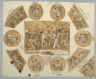 Spartan women giving shields to their husbands and sons while exhorting them. Setting shows vaulted hall. Six oval medallions surround oblong. Medallions show seated gods, respectively Neptune, Venus, Mars, Zeus, Minerva and Apollo. Quadrangles dispersed obliquely at corners. Left ones contain battle scenes. At right top corner, victor in race of chariots. At right bottom corner, a victoriously racing chariot. Sea god shown at right. Upper part of decoration for wedge shown around right bottom corner; grotesque plant candelabrum with panoply in top center. Verso: representation of same theme outlined in graphite.