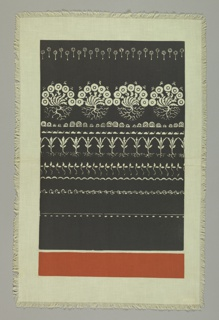 Large area of dark grey reserved in small white floral designs and flanked on one side by wide strip of solid orange.