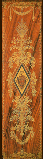 Beaded lozenge enclosing a musical trophy and flower-filled basket, on walnut-grained ground. Design appears like a large gilt-bronze mount on a woodgrain background. Hand painted wood grain or faux boise ground.
