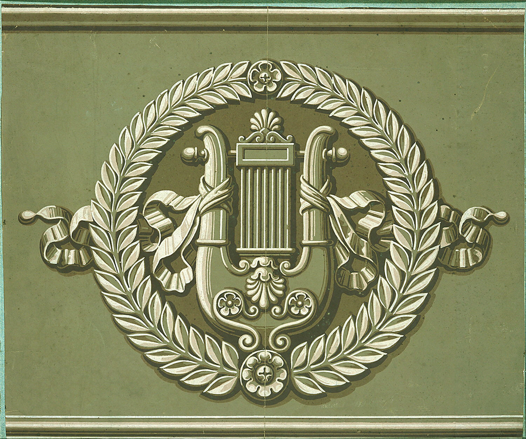 Ribbon-entwined lyre in a laurel wreath within molded banding. Printed in white and shades of green on a medium green ground.