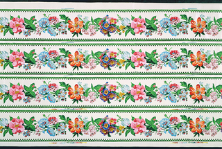 Printed four borders across width; floral garlands of bachelor's buttons, sweet william, rosa rugos on cream satin ground with green gothic-style band at either edge.
