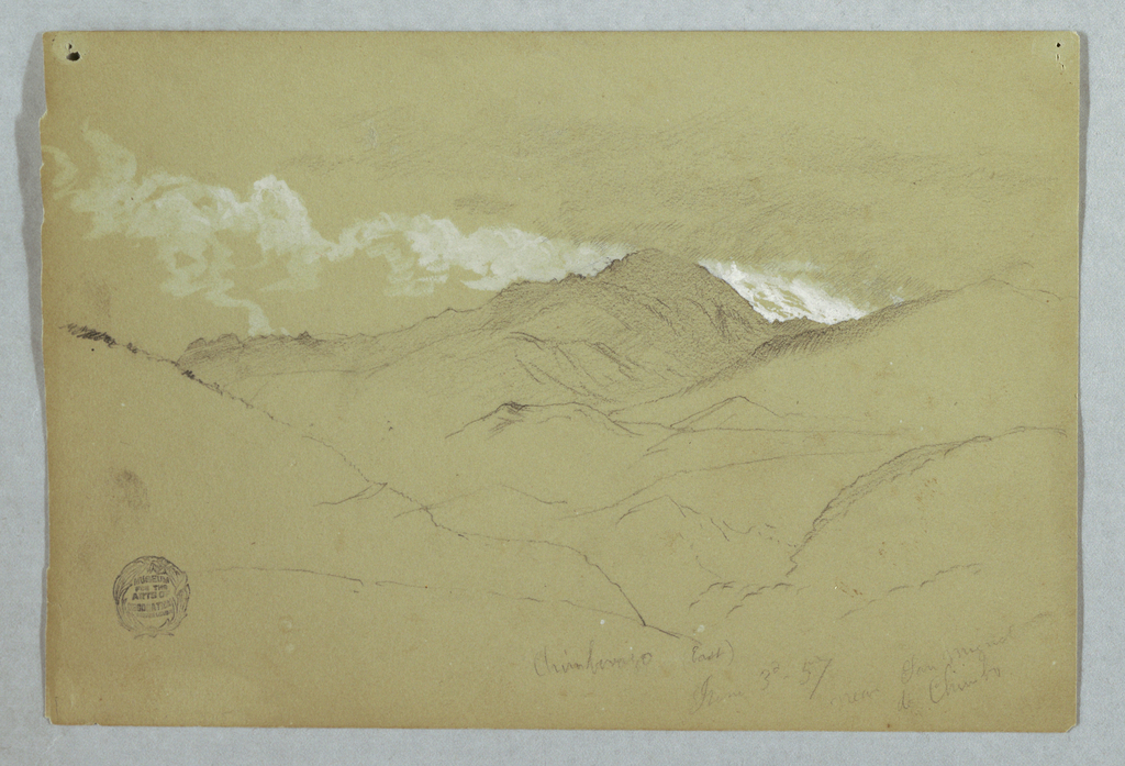 Horizontal study of Mount Chimborazo shown from the East across ridges and peaks, with clouds.