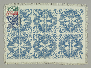 Stylish symmetrical design of sea horses, sea-weed, sand dollars, etc., printed in blue on white ground with self fringe.
