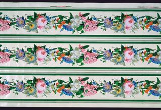 Border, Scrolling polychrome passion flower floral garlands