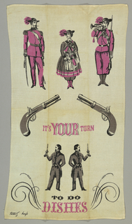 "Four men, a woman, and two guns. Text reads ""It's Your Turn to Do the Dishes."" Printed in pink, black and gray."