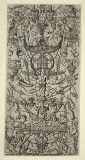 Print, Ornament Panel with Bird Cage
