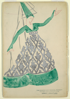 Figure of a woman with a tall green hat and dress, worn underneath a metallic floral pattern. Black small text, bottom right corner.