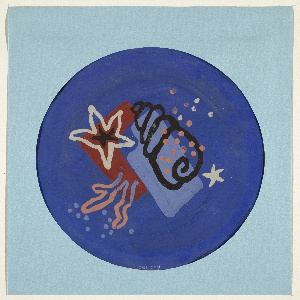Drawing, Design for Blue Bathroom Mat with Sea Motif