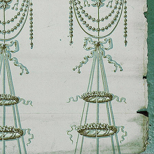 Arabesque with ribbon-tied urns and foliate streamers. Printed in grisaille on gray ground.