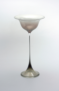 Dark rose cast on goblet, opaque black glass in stem and on foot