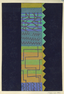Abstract shapes in blue, green and orange; saw-toothed edge, flanked by navy blue.
