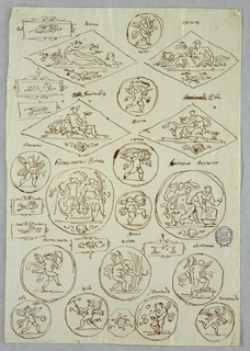 Four rhombus with Bacchus, Cerere, Ganymede, Hebe; two tondi with the Seasons; thirteen tondi with cupids; seven decorative folders; octagonal with masks.