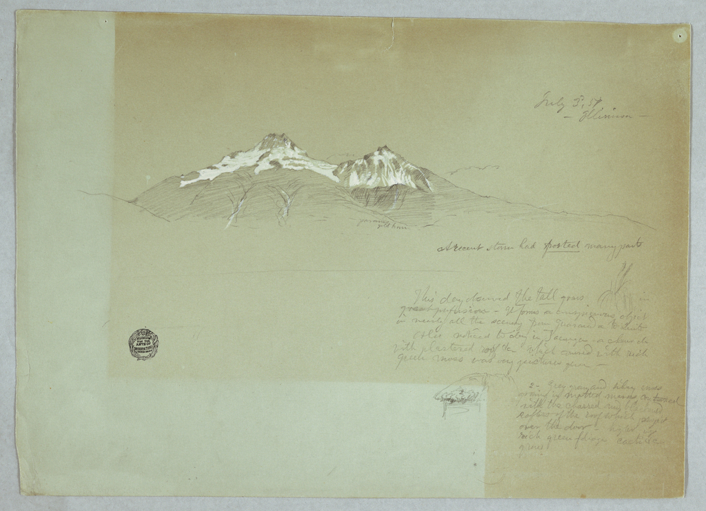 Horizontal view of the two peaks, norte and sur, of Mount Iliniza at top; a grass study at central far right; and a roof corner at lower right.