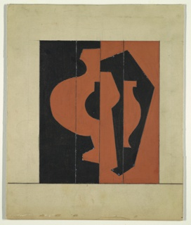Design for three-paneled screen. Overall rectangular format features abstract shapes, possibly vessels, intersecting and overlapping in asymmetrical composition and rendered in black and terra cotta tones.